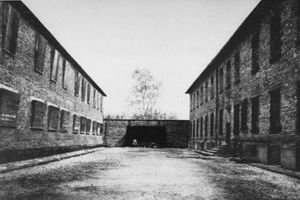 Execution wall in the Auschwitz I camp after liberation. (After January 1945)