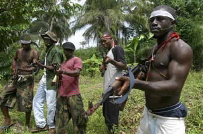 Niger Delta Volunteer Force(NDVF) militants display their weapons.
